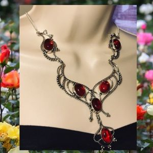 Garnet Gemstone Handmade BIB Statement Necklace